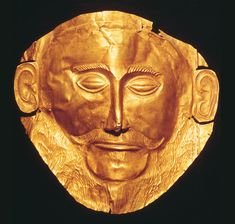 """Funerary Mask from Grave Circle A  Date: 1600-1500 BCE Location: Mycenae, Greece Culture: Mycenaean Medium: Beaten Gold Notes: First attempt at life size sculpture in Greece. Home described the Mycenaeans as """"rich in gold""""."""