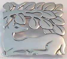 ❤️JAMES AVERY RETIRED NEW DEER PIN BROOCH LARGE XTra RARE SILVER VINTAGE CHARM❤️