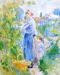 Mother and Child Picking Nasturtiums - Berthe Morisot (French, Impressionism Mary Cassatt, Edouard Manet, Pierre Auguste Renoir, Claude Monet, French Impressionist Painters, Berthe Morisot, Photo D Art, Classical Art, Mother And Child