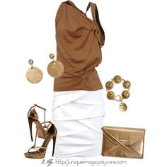 """""""Brown & Gold"""" by uniqueimage on Polyvore  I love everything about this outfit, except that it costs $4200."""