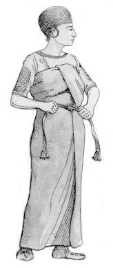 Det var denne type nederdel, Skrydstrup-pigen blev begravet i. Det er et stort stykke stof, der blev viklet rundt om kroppen, som vi i dag gųr med et badehåndklęde eller en sarong. Et bęlte bindes om livet, og nederdelen når nu fra armhulerne og ned over anklerne.