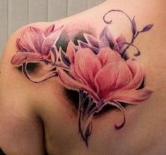 Watercolor Magnolia Flower Tattoo.