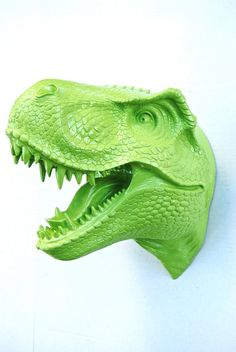 T-Rex Dinosaur Head Wall Mount Green Dinosaur Faux by NearAndDeer