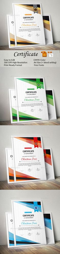 Certificate Design Template Vector EPS, AI Illustrator Certificate Design Template, Certificate Of Achievement, Infographic Templates, Designs To Draw, Stationery, Ai Illustrator, Graphic Design, Reading, Words