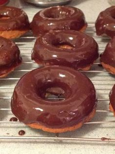 Chocolate Donuts... low carb... by Maria Emmerich... Makes 16... DONUT - 1/2 c almond flour - 3 eggs, separated - 1/4 t Celtic sea salt - 1/4 t baking soda - 1 t vanilla (or Almond) - 1/4 t cinnamon - 2 T cocoa powder - 1/4 c Swerve (or 1/4 c erythritol + 1 t stevia) - 4 T coconut oil or butter... Bake 15 @ 350... GLAZE: - 6 T unsweetened cocoa powder - 1/4 c butter or coconut oil - 1/4 c Swerve (or erythritol + 1 t stevia glycerite) - 1/4 c unsweetened almond milk - 1/2 t vanilla extract