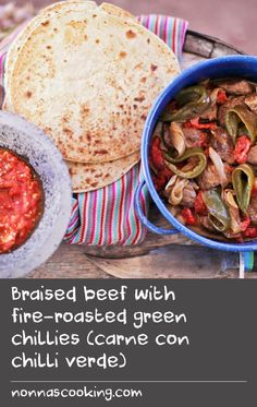 Braised beef with fire-roasted green chillies (carne con chilli verde) Brats Recipes, Roast Beef Recipes, Spicy Recipes, Greek Recipes, Chili Recipes, Best Chili Recipe Beef, Chitlins Recipe, Chilli Dish, Anaheim Peppers