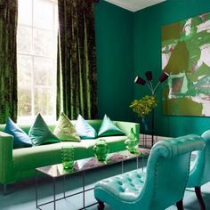 Looking for cosy living room decorating ideas? Take a look at this bold living room from Homes & Gardens for inspiration. For more living room ideas, visit our living room galleries Room, Colorful Interiors, Stylish Living Room, Interior, Blue Living Room, Green Decor, Green Rooms, Blue And Green Living Room, Room Inspiration