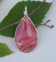 Pink Rhodochrosite Pendant, Wire Wrapped Pendant, Large Semi-precious Pink Stone Jewelry, Argentium Silver. $70.00, via Etsy.