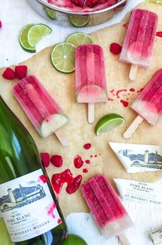 Raspberry & Lime Sangria Popsicles #wine #poptail #cocktail #popsicle #recipe