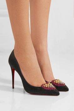Christian Louboutin | Coralta Mia 100 embellished glittered canvas pumps | NET-A-PORTER.COM