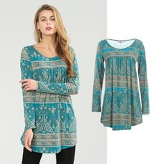 Jersey Tunic in Paisley Print Tunic Blouse, Tunic Tops, Elegant, Paisley Print, Neue Trends, Shirt Sleeves, Outfit, Stylish, Shirts