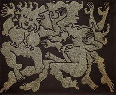 """Jan Dobkowski: Karnawał w Rio XXXXI z cyklu Nokturny, 2008 r. akryl, płótno, 81 × 100 cm opisany na odwrocie: Jan Dobkowski /'KARNAWAŁ W RIO XXXXI""""2008 R./ ACRYL/81 CM X 100 CM"""