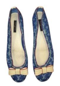 72785a5e7c0b Louis Vuitton Denim Blue Monogram Collection Flats Size US 8.5 59% off  retail