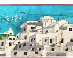 "Serifos  Island Greece - Silk Wall Hanging - Batik Painting Picture -  Hot Wax Technique - Home Decor (11 3/4"" X 5 7/8"" inch.)"
