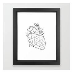 Origami Heart Framed Art Print ($34) ❤ liked on Polyvore featuring home, home decor, wall art, heart wall art, heart home decor and framed wall art