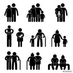 Vektor: Happy Family  Icon Sign Symbol Pictogram
