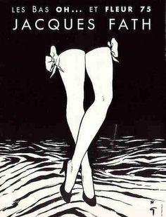 Jacques Fath stockings. Illustration: Rene Gruau.