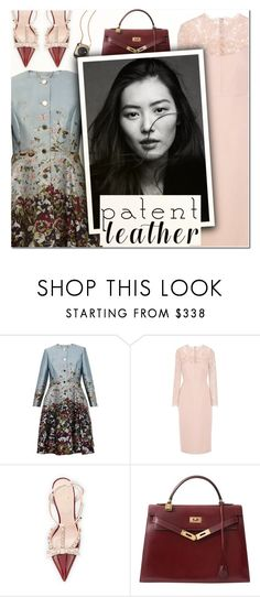 """City Slickers: Patent Leather III"" by vampirella24 ❤ liked on Polyvore featuring Ted Baker, Valentino, Kate Spade and Hermès"
