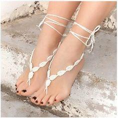 a37e343941fa1b New Arrival White Hand-Woven Foot Ornaments Crochet Sandals