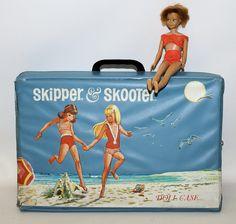 Vintage 1965 Mattel SKIPPER & SKOOTER Barbie Doll Case with 1963 Skipper Doll
