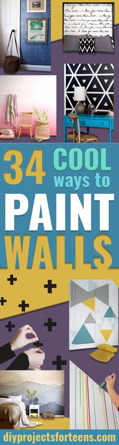 DIY Ideas for Painting Walls - Cool Ways To Paint Walls - Techniques, Tips, Stencils, Tutorials, Fun Colors and Creative Designs for Living Room, Bedroom, Kids Room, Bathroom and Kitchen http://diyprojectsforteens.com/cool-ways-to-paint-walls