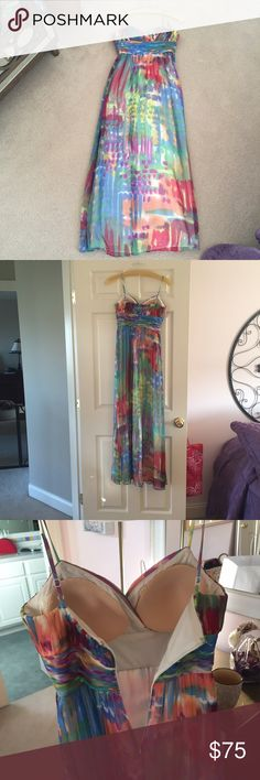 Long maxi prom dress Beautiful dress. Perfect for summer or spring! Great to wear to a wedding or any formal event. Only worn once to prom. From Lord and Taylor. The straps have been altered a bit to fit snug on shoulders. Decode Dresses Prom