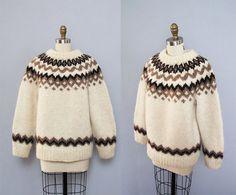 vintage ICELANDIC wool cream  brown zig zag sweater by secretlake