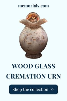"""The Wood Glass Keepsake Cremation Urn is hand blown by the artist and each urn is individually crafted. The artists style of blowing is """"off hand blowing""""; he uses no molds, and does no grinding. This is a very difficult style of glass blowing as it requires """"one shot"""" accuracy. The molten glass, fired to 2300 degrees, is blown and shaped from the artist's hands with the use of simple tools. Due to the nature of the material, color and patterns will vary a little. Memorial Urns, Funeral Memorial, Keepsake Urns, Granite Stone, Cremation Urns, Wood Glass, Grinding, Marble, Hands"""
