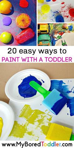 20 easy ways to paint with a toddler - fun and easy toddler painting ideas that are perfect for one year olds two year olds and three year olds. Toddler Painting Activities, Fun Activities For Toddlers, Infant Activities, Preschool Activities, Toddler Painting Ideas, Painting With Toddlers, Preschool Painting, Easy Toddler Crafts, Toddler Art