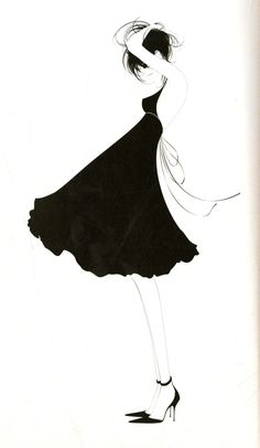 Fashion illustration - chic black & white fashion drawing