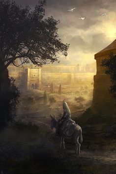 """Must-see Concept Art by Rado Javor    (""""and as he approached the city where he knew he would die ...he road a gentle animal quietly...silently, ... knowing what awaited him would be the weight of the world, beginning past present future~~~and he went into all of that..."""")"""