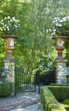 Urns adorn a formal garden entrance Driveway Entrance, Garden Entrance, House Entrance, Wedding Entrance, Grand Entrance, Formal Gardens, Outdoor Gardens, Modern Gardens, Indoor Outdoor