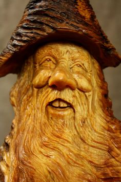 Wood Spirit Wood Carving Christmas Gift by TreeWizWoodCarvings, $140.00