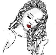 Oooouuu Drawings Tumblr Girl Drawing Tumblr Outline Drawings