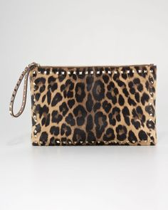 Valentino Rockstud Leopard Print Clutch