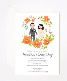 Custom illustrated wedding invites by Kathryn Selbert (via Etsy).
