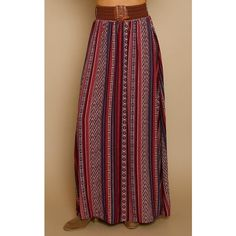 e5f9ddbbc8ec2 Burgundy Border Print Belted Maxi Skirt ( 27) ❤ liked on Polyvore featuring  skirts