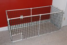 Making a Rabbit Fort/Cage/Playpen out of PVC Pipe - Bunny Approved - House Rabbit Toys, Snacks, and Accessories Rabbit Playpen, Dog Playpen, Rabbit Toys, Bunny Cages, Dog Cages, Pet Cage, Dog Pen Outdoor, Pvc Pipe Projects, House Rabbit
