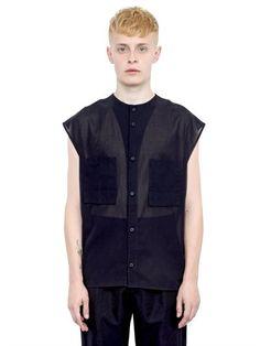 ALEXANDRE PLOKHOV COTTON GAUZE SLEEVELESS SHIRT, BLACK. #alexandreplokhov #cloth #shirts
