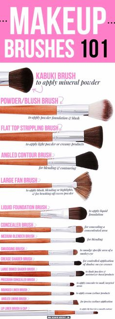 This makeup brush guide shows 15 of the best Vanity Planet makeup brushes, inclu. - - This makeup brush guide shows 15 of the best Vanity Planet makeup brushes, including how to use each type of makeup brush Celebrity Makeup Ideas for W. Makeup 101, Makeup Guide, Makeup Tricks, Makeup Tools, Skin Makeup, Makeup Inspo, Makeup Ideas, Set Of Makeup Brushes, Makeup Geek