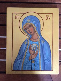 Theotokos Panagia Fatima MADE TO ORDER Handpainted Eastern Orthodox icon 22karat  | eBay