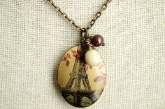 Paris Necklace with Off White Teardrop and Dark Red Pearl Charm. Locket Necklace, Pendant Necklace, Valentines Sale, Paris Eiffel Tower, Dark Red, Red Leaves, Personal Photo, Bronze, Fresh Water
