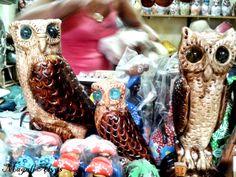 Corujas na feira de artesanato em Aracaju-SE