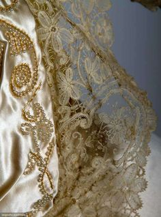 Silk And Lace Wedding Ensemble (View Of Lace And Pearl Embroidery    c. April 4, 1912