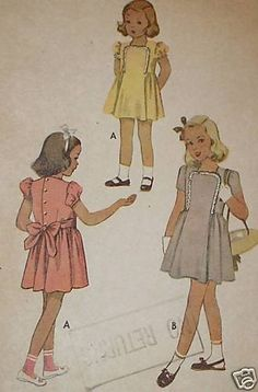 Vintage 1940s McCall 6650 CUTE Girls Dress Pattern sz 2