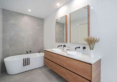 Freestanding Bath Freestanding Bath With Grey Feature Wall Wall Hung 3 Part Vanity Separate Mirror Cabinet Grey Subway Tiles, White Wall Tiles, Grey Floor Tiles, Bathroom Floor Tiles, Grey Flooring, White Vanity Bathroom, Grey Bathrooms, Modern Bathroom, Grey Feature Wall