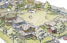 neighborhood pocket homes Co Housing Community, Tiny House Community, Tiny House Village, Tiny Houses, Pocket Neighborhood, Cluster House, Farm Layout, New Urbanism, Eco City