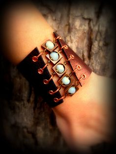 Unique Handcrafted Unisex Leather Jewelry Corset Cuff Bracelet Metallic Bronze Amazonite and Copper