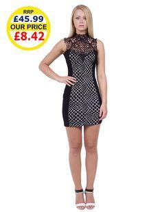 UK Drop Shipment  Womens Fashion Crochet Lace Trim Bodycon Dress £8.42