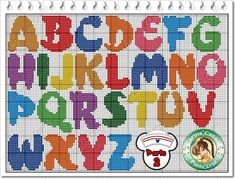 Bright and cheerful alphabet, upper case Cross Stitch Alphabet Patterns, Cross Stitch Letters, Cross Stitch Boards, Cross Stitch Designs, Stitch Patterns, Cross Stitching, Cross Stitch Embroidery, Plastic Canvas Letters, Crochet Letters